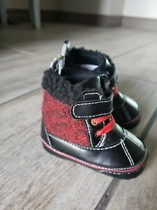 First Steps Black & Red Booties Size 2 (3-6 Months) NWT