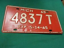 Great Collectible License Plate/Tag 1965 MICHIGAN Exp. 5-14-65...4837T