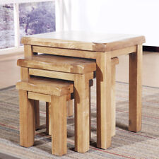 Coffee Table Set Solid Oak Nest of 3 Tables Bedside End Side Living Room Office