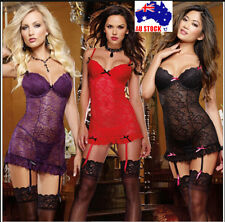 Sexy Underwire Lingerie Babydoll Chemise Plus Size 6 8 10 12 14 16 18 K193