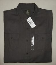 Men's NWT TIMBERLAND 100% Cotton Gray/Brown Long Sleeve Chamois Cargo Shirt L