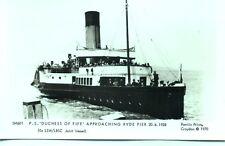 Pamlin repro photo postcard SM601 Paddle Steamer DUCHESS OF FIFE Ryde Pier 1928