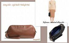 NWT Coach Madison Leather Zip Top Wristlet 49997 Light Gold / Midnight Oak