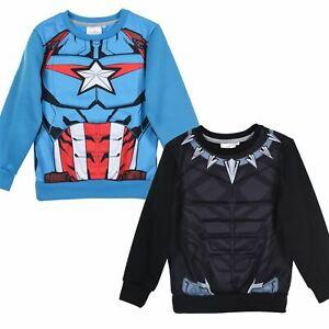 Boys Kids Black Panther/Captain America Jumper Long Sleeve Sweatshirt