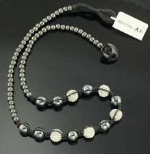 "Hematite Beaded White Artesian Glass Disco Ball Station Necklace 29""  Signed IL"