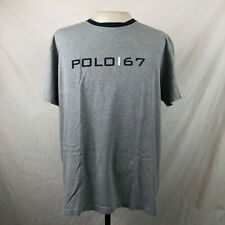 Vintage 90s Ralph Lauren Polo 67 T-Shirt Large Gray Blue Vtg Pwing Sport