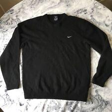 Nike Golf Mens Lambswool Woolly Swoosh Jumper Anthracite / Black Golfing L Large