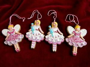 SET OF 4 CERAMIC ANGEL~DOLL FIGURES~CHRISTMAS TREE ORNAMENTS~XMAS DECORATIONS