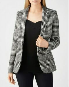 PURE COLLECTION 100% Wool Black White Check Tailored Blazer UK 18 Worn Once £199