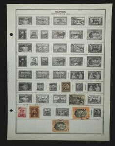 Lot 25+ Philippines Stamps on Album Pages: 1940s-60s; Some Air Post & Official