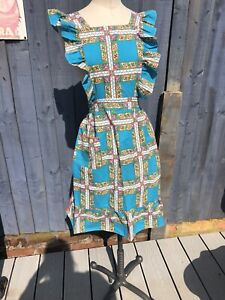 VINTAGE 1950s HOUSEWIFE NUTILITY PINNY APRON FRILLY PINAFORE 100% COTTON PRINT