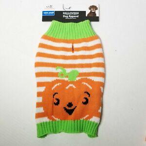 Halloween Dog Apparel Orange & White Pumpkin Face Sweater With Green Collar ~XS