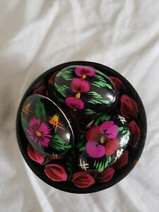 3 Black and Pink Flowers Ukrainian Wooden Easter Eggs and Plate All Hand Painted