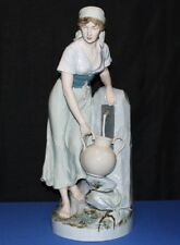 "1940's Royal Dux Large 24"" Porcelain Bohemia Girl at Well Fountain Figurine"