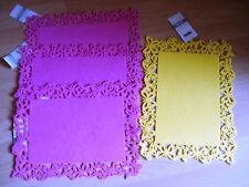 4 Stück Platzdeckchen, Deckchen,30x40 cm,3xpink,1xgelb,gestanzte Rand, Neu
