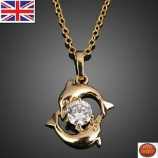 Cute Playing Couple Dolphin Crystal Necklace Women Pendant Chain Jewelry Gold