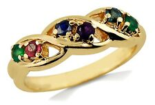 Women's 10k Solid Yellow Gold Ring Multi Natural Gemstone 1/3 tcw Band