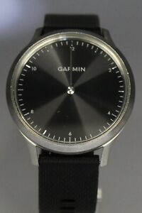 Garmin Vivomove HR Premium Smart Watch Silver Tone with Black Silicone band