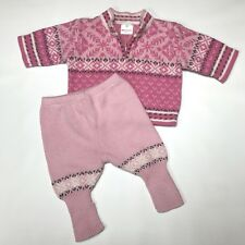 Hanna Andersson Baby Girls 50 0-3 month 2pc Sweater Outfit Layette Pink Nordic