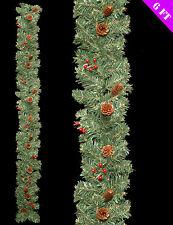 Natural De Navidad Guirnalda Decoración Bayas Rojas Y Conos De Pino