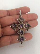 Beautiful Vtg sterling Silver 925 Amethyst Cross Pendant