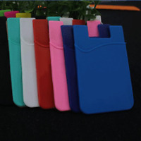 Adhesive Silicone Credit Card Pocket Sticker Pouch Holder Case For Cell Phone @