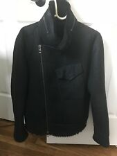 All Saints Shearling Black Fur Coat Limited Edition Men's X Small fit like Small
