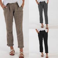 ZANZEA Femme Pantalon Taille elastique Couleur Unie Longue Droit Loose Plus