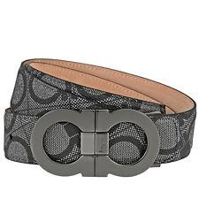 Ferragamo Double Gancio Textured Leather Belt - Size 46