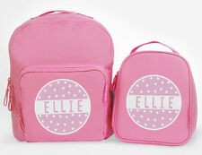 Bright Star Kids Personalised Matching Pink Backpack and Lunch Bag - Polka Dot