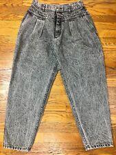 80s Vintage Lee Acid Wash Jeans Women 16P High Waisted Mom Jean Black 32x27 USA