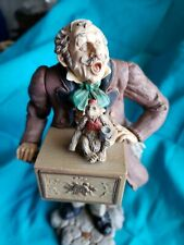 Rare 1982 Hallmark Organ Grinder Man w Monkey Circus Musical Figurine 8.5