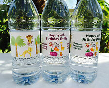 20 PERSONALIZED SAFARI Birthday Waterproof WATER BOTTLE LABELS for Party Favors!