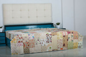 Kantha Quilt Sari Patchwork Hand Embroidery Bedspread Queen Reversible Bedding