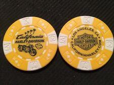 "Harley Poker Chip Golf Ball Marker (Yellow/White) ""California"" Los Angeles BIKE"