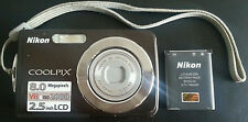 "NIKON COOLPIX S210 BLACK DIGITAL PHOTO CAMERA 3X ZOOM 8 MP 2.5""LCD 2000 VR & ISO"