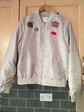 Ladies Grey Metallic Badge Bomber Jacket Size M BNWT RRP £29.99