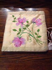 Vintage Hankie Holder Hand Painted Flowers On peach color
