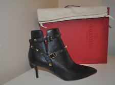 NIB Valentino Rockstud Pointy Toe BLACK Leather Ankle Booties Boot Studs 37 -6.5