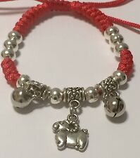 New Year Feng Shui God Luck Silver Sheep Amulet Adjustable Red Rope Bracelet