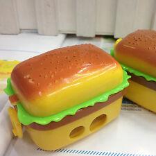 2 Hole Stationery Hamburger Pencil Sharpener +2 Rubbers Eraser Student Kids Cute