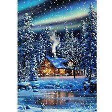 1x Full Drill 5D Diamond Painting Snow House Cross Stitch Kit Embroidery Decor