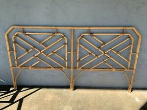 Bamboo King Size Headboard Chinese Chippendale Bed Boho Vintage