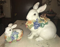 Vintage FITZ & FLOYD ESSENTIALS Bunny & Grapes Cookie Jar & Candy Dish  RARE!