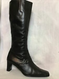 LADIES GABOR BLACK LEATHER KNEE HIGH BOOTS SIZE UK 6