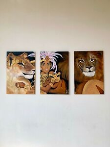 Original oil painting on large canvas, 3 piece queen and lions