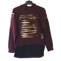 Switch Mens Size XL Burgundy & Black Gold Destroyed Slim Hoodie Sweatshirt New