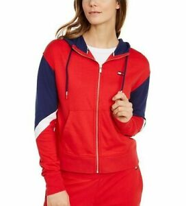 TOMMY HILFIGER Womens Red Zippered Color Block Long Sleeve Hoodie Top Size Large