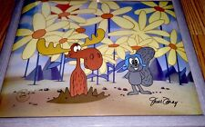 Rocky Bullwinkle cel Pushing Up Daisies signed June Foray rare animation cell