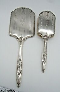 ANTIQUE WALLACE STERLING SILVER HAND MIRROR & BRUSH